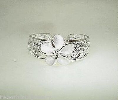 9mm Hawaiian Solid Sterling Silver Princess Scrolls Plumeria Flower CZ Toe Ring