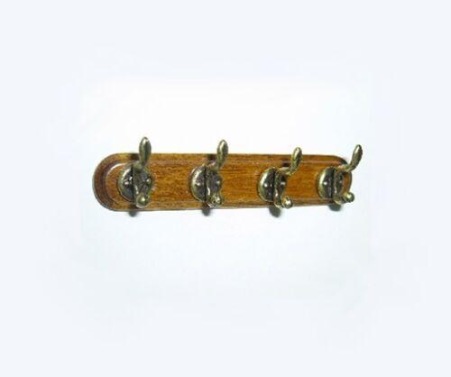 1:12 Scale Dollhouse Miniature Wooden Wall Rack with Coat/Purse Hooks #WCHW45