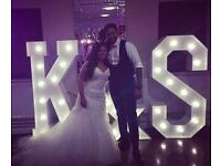 Our stunning 5ft GIANT Light up letters, £50 each personalise your special event or wedding