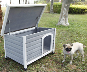Outdoor Wooden Dog House with Adjustable Foot Mat for Small Dogs