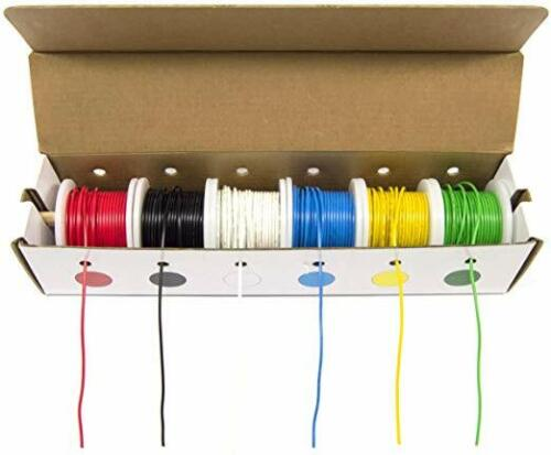 22AWG Stranded Hook Up Wire Kit 300V Silicone Insulated Electric Cable 25Ft W4