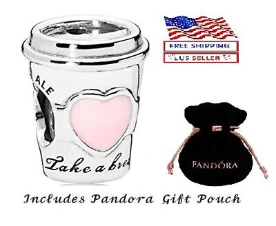 New Authentic S925 Silver PANDORA Take a Break Coffee Cup Charm 797185EN160