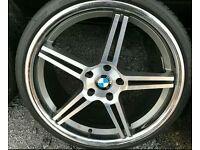 "BMW 20"" ALLOY WHEELS & TYRES 5X1203 3 4 5 6 7 SERIES MSPORT VW T5 VIVARO"