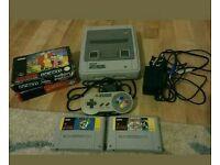 Original super Nintendo SNES console and games bundle PAL