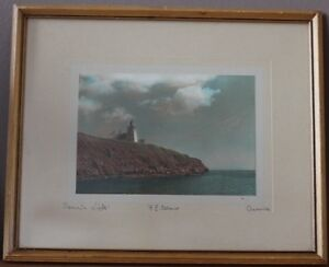 "CRASWELL HAND TINT PHOTOGRAPH ""SOURIS LIGHTHOUSE"" ORIGINAL FRAME"
