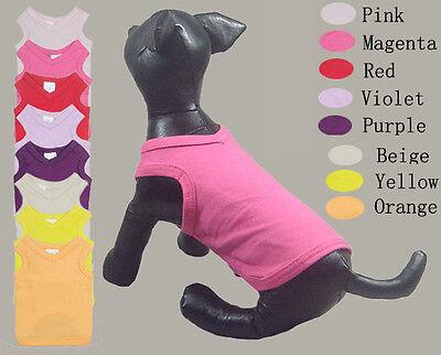 Pet Clothing Blank Dog Shirt Plain Pink Black Red Violet Tank Top XS S M L XL XX