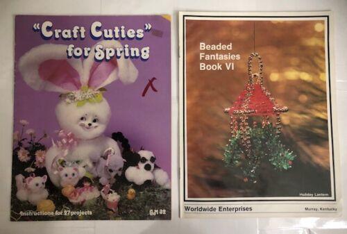 Lot 2 Vintage Bead Beading Patterns Books Beaded Fantasies VI 4 & Craft Cuties