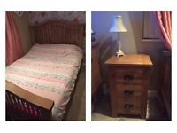 Solid oak bedroom furniture Double bed and 2 bedside tables