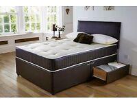 NEW - MEMORY FOAM DIVAN BED SET MATTRESS HEADBOARD SIZE 3FT 4FT6 Double 5FT King