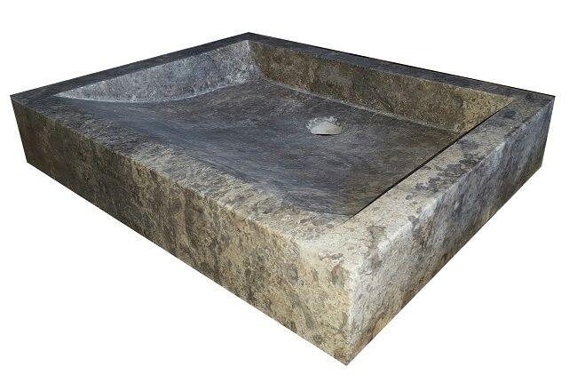Angled Flow Rectangular Natural Stone Vessel Sink - Antico Travertine
