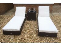 Brand New London Rattan Luxury Capri Rattan Sun Lounger Set Patio / Outdoor Garden Furniture