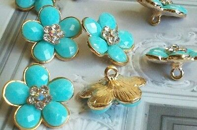 Turquoise Flower Gold Metal Buttons With Rhinestone 20 Mm 10 Pieces Bridal Item