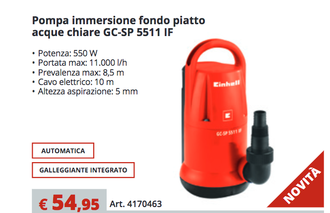 POMPA SOMMERSA AD IMMERSIONE A FONDO PIATTO 550W EINHELL GC-SP 5511 IF