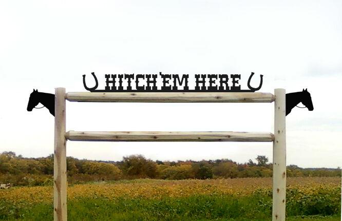 HORSE HITCHIN POST BLACK PANELS - HORSES - SADDLES  -EQUESTRIAN GIFTS