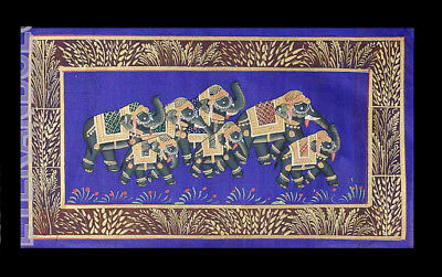 Hanging Wall Painting Mughal on Silk Art Elephant India 39x20cm C9 1207