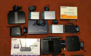 Assortment of routers, switches - Netgear, Dlink, Linksys, Apple