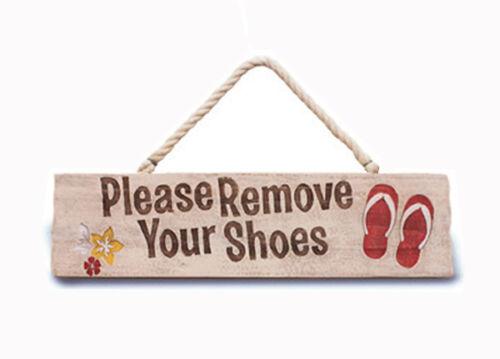 Hawaiian Wooden Wall Sign Remove Your Shoes Island Home Tiki Bar Decor Hawaii N