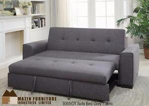 Sofa Bed in Grey Fabric  Item No.* Description Dimension 9355GY-1 Sofa Bed in Grey Fabric 79 x 38/44 x 36H