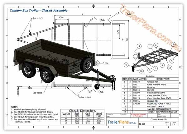 Trailer plans tandem axle box trailer plans 3 sizes for 4 box auto in tandem