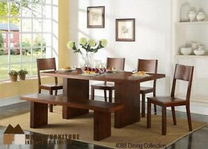 Double Pedestal Dining Collection accent with wood bench and side chair in a Cherry finish (MA389)
