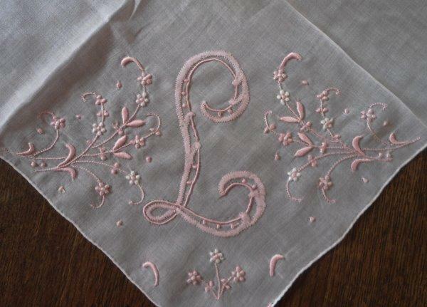 Vintage Madeira Wedding Hanky Monogram L Pink Embroidery Bridal