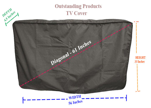 Weather Resistant Lined Protective Outdoor TV Cover For LG 60UH6035 HD TV Black