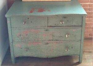 Beautiful vintage mint and pink chippy paint dresser
