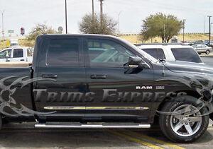 2009-2018 Dodge Ram Quad Cab 4Pc Flat Body Side Molding Trim 1.5