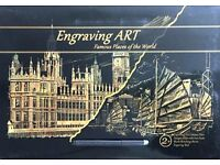 Gold Foil Engraving Art Set-2 Sheets A3 Size Famous Places Of The World Designed-Christmas Gift