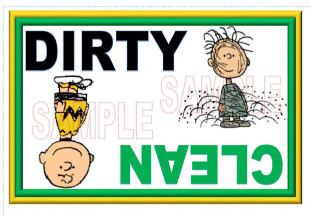 XL SIZE Charlie Brown peanuts Dishwasher Magnet Clean Dirty portable
