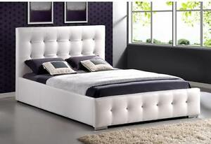 WHITE UPHOLSTERED LEATHER BEDS IN DOUBLE,QUEEN,KING