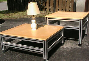 Small tea table, with aluminum legs  Very strong, solid built,