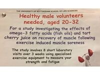 Male volunteers aged 20 - 32 years needed for a study.