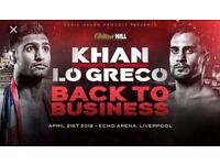 AMIR KHAN vs LO GRECO. 2x FRONT ROW A, LOWER TIER! 21st APRIL