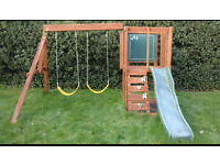 Wooden Outdoor Climbing Frame Swings & Slide CAN DELIVER