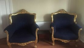 Antique vintage French rococo sofa armchairs settee
