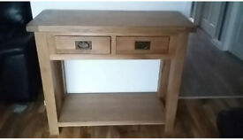 Solid Oak Console Table Solid oak with dovetail drawers