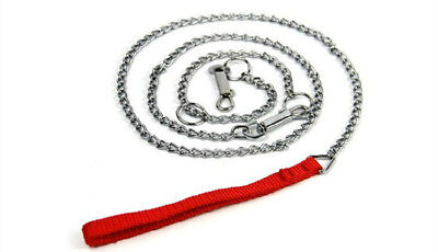 "44""Dog Cat Leash Collar Lead Chain Dogs Heavy Duty Metal Nylon Pet Outdoor Strap"