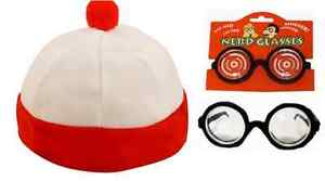 White And Red Striped Hat & Glasses Wheres Soft Bobble Hat  Fancy Dress.