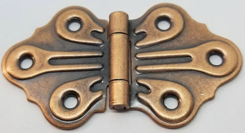 Antique Steel Door Hinges Copper Butterfly Vintage Gate Door Hinge Lot Of 2 - $10.50