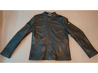 Hugo Boss Orange Men's Jelon Black Leather Long Sleeve Jacket Size 42