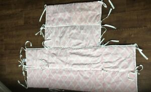 Pink and white baby bumper set