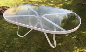 Large metal and glass Garden table