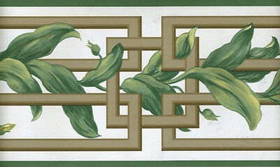 ORIENTAL LATTICE WITH GREEN LEAVES  ON WHITE WALLPAPER BORDER