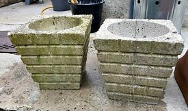 PAIR OF CEMENT - BRICK PATTERN - PLANT POTS