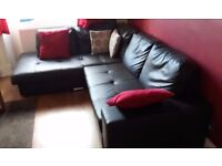Faux Leather Corner Sofa with Storage