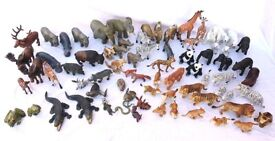SCHLEICH & AAA TOY WILD ANIMALS, VINTAGE 73 PIECES