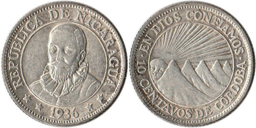 1936 Nicaragua 10 Centavos Silver Coin KM#13 Mintage 250K