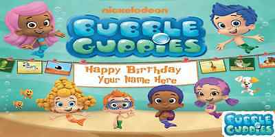 Birthday banner Personalized 4ft x2ft  Bubble Guppies](Bubble Guppies Birthday Banner)