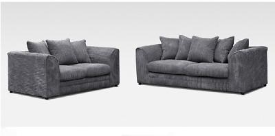 Cord Corner Sofa Jumbo 3 2 Seater Grey Brown Coffee Cream Suite Armchair Chair